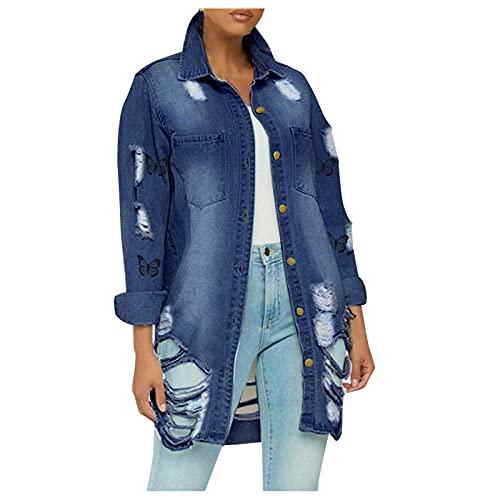 Esque Chaqueta Vaquera De Mujer,BotóN Las SeñOras con Los Bolsillos Damas Tops Rasgados Mezclilla,Blusa Casual para Mujerchaqueta Mezclilla Perforada Botones Mujer Y Abrigo Bolsillo,C Azul,3XL