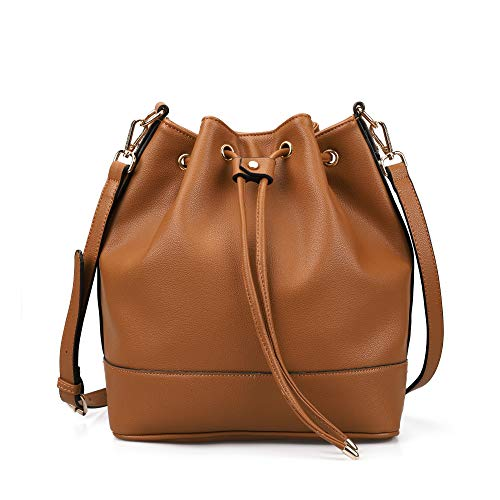AFKOMST Bucket Bag for Women,Drawstring Purses and Handbags,Faux Leather with 2 Shoulder...