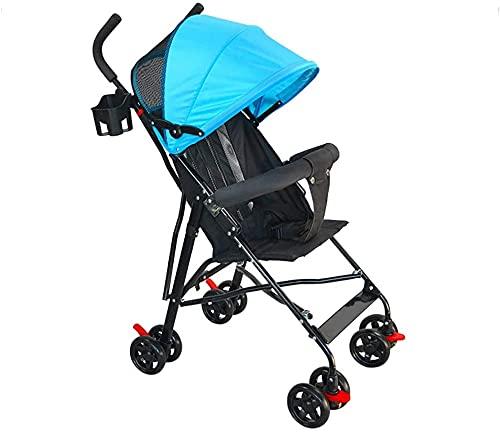 Cochecito ligero con estilo, cochecito de bebé, cochecito plegable bebé niño niño niño paraguas ultra portátil portátil plegable simple simple sillón de viaje Sistema de viaje (Color : Blue)