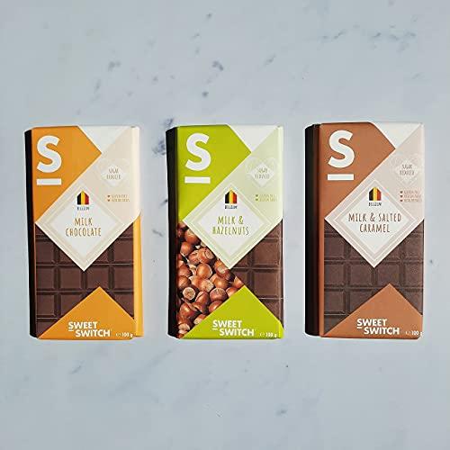 SWEET-SWITCH® – Melkchocolade Mix – Melkchocolade – Gezouten Karamel – Hazelnoten – Suikerarm – Glutenvrij – KETO…