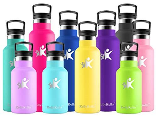 KollyKolla Botella de Agua Acero Inoxidable, Termo Sin BPA Ecológica Reutilizable, Botella Termica con Pajita y Filtro, Water Bottle para Niños & Adultos, Deporte, Oficina (350ml Amarillo