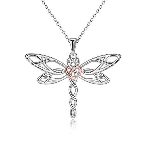 POPLYKE Dragonfly Necklace Gifts for Women Sterling Silver Celtic Dragonfly Pendant Irish Jewelery for Girls