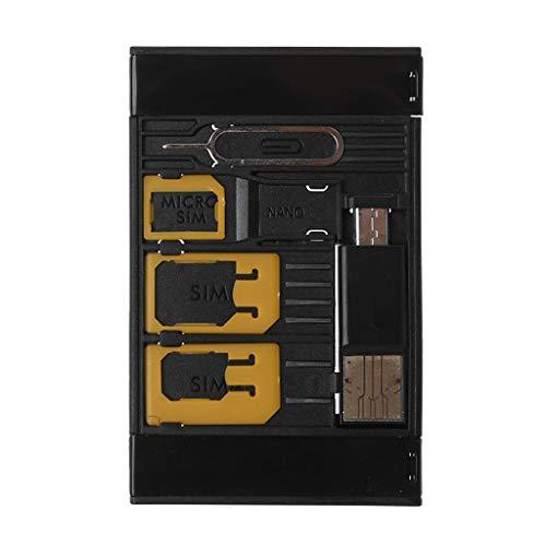 CAREMiLLE 5 en 1 Universal Mini Sim Adaptador de Tarjeta Kits de Estuche de Almacenamiento para Nano Micro Sim Card TF Lector de Tarjetas de Memoria, Lector de Tarjetas