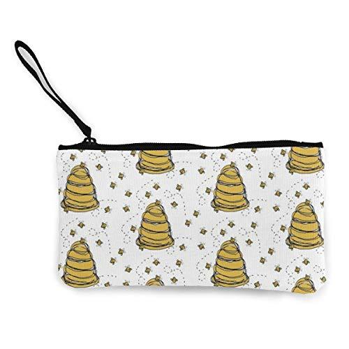 Unisex Geldbörse, Münztaschen, Baby Cute Honeybee Hive Quilting Multifunktionale tragbare Canvas Münzbörse Handy Tasche Kosmetiktasche mit Reißverschluss Handgelenktasche