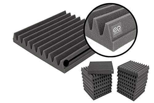 EQ Acoustics Premium Acoustic Foam Tile Kit, 16 Pack, 30 x 30 x 5cm Classic Wedge Tiles. Better...