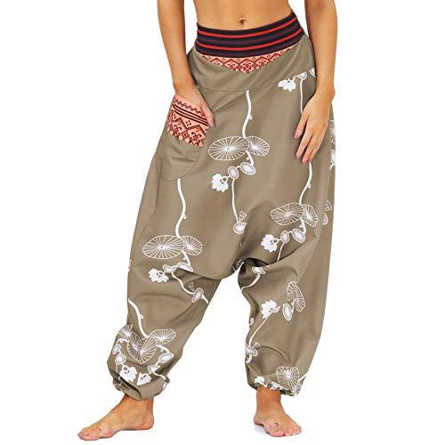 Nuofengkudu Pareja Mujer Hombre Pantalones Cintura Alta Bombachos Anchos Hip Hop Drop Crotch Hippies Flojos Pantalón Muay Thai Deportivo Yoga Pants Fiesta(010-Marrón,L)