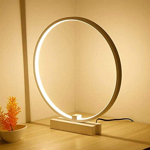 White LED Eye Protection Table Lamp Creative Round Acrylic Wrought Iron Lighting Decorative Table Lamp Study Bedroom Bedside Reading Table Lamp (Color : Warm light-40cm)-Warm Light-40cm