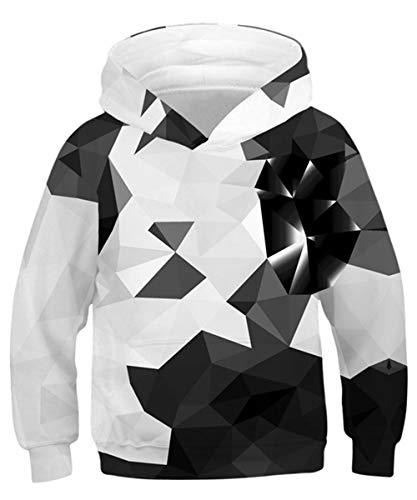 Rave on Friday Jungen Diamant Kapuzenpullover Neuheit Galaxy Hoodie Grafik 3D Druck Pullover 155 Langarm Cool Sweatshirt mit Tasche L