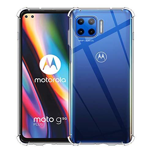 Aerku Hülle für Motorola Moto G 5G Plus, Rundumschutz [Kratzfest] [Anti-Fall] [Stoßdämpfung] Ultra-dünne TPU Silikon Gel-Abdeckung Transparent Case Handyhülle für Motorola Moto G 5G Plus[Transparent]