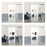 DURADOOR Puerta corredera con cristal de seguridad transparente de 2050 mm x 1050 mm x 8 mm, puerta corredera de cristal de seguridad ESG