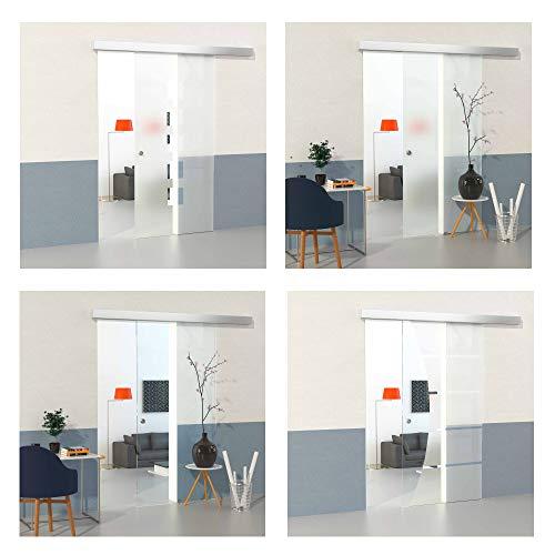 DURADOOR Glasschiebetür 900 mm x 2050 mm x 8 mm Sicherheitsglas im 5-Streifendesign mit Klarfeld ESG Glasschiebetüren