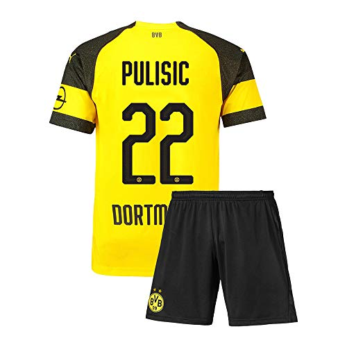 Qutjiw Youth Pulisic Jersey 22 Kids Soccer Shirts 2019/20 Shorts Sports Athletics (M=24(7-8Years Old)) Yellow