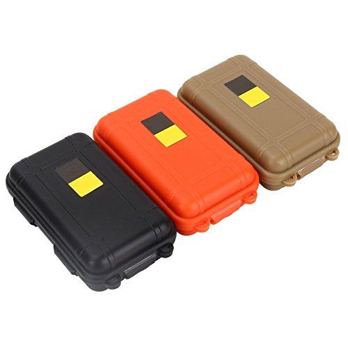 3 cajas de almacenamiento de plástico de supervivencia, 3 colores surtidos, al aire libre a prueba de golpes, caja hermética de supervivencia (115 x 75 x 35 mm)
