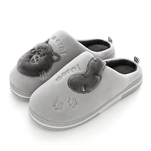 ZapatillascasaZapatillas De Interior para Mujer Lovely Cat Bordado Soft Mujer Zapatillas Casa Felpa Cálido Invierno Suede Unisex Casa Zapatos 4.5 Gris