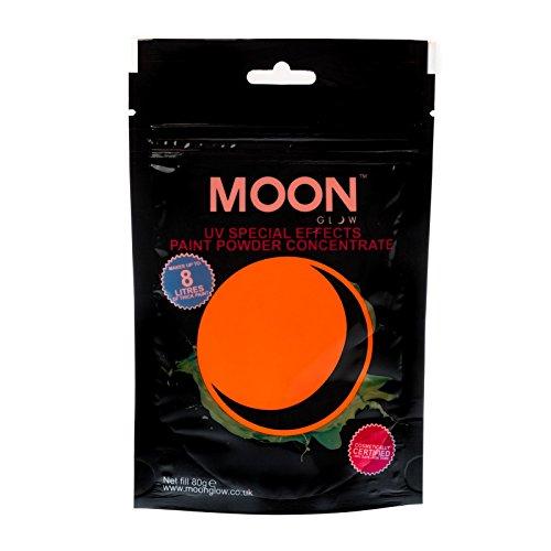 Moon Glow – Poudre pour peinture UV 80 g. Orange Peinture fluo en poudre concentrée pour les fêtes et les effets spéciaux. Pour fabriquer jusqu'à 8 litres de peinture