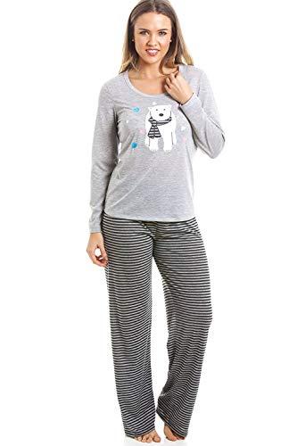 Camille Conjunto de Pijama de Oso Polar de Longitud Completa a Rayas Grises 44 Grey