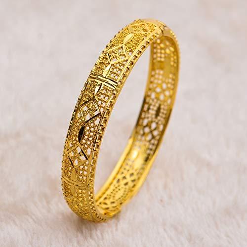 LXMYLI Pulsera De Oro , Brazaletes De Moda Braslet Brazalete De Color Dorado Etiopía Pulsera De Oro Étnica para Mujer (Longitud: 22 Cm)