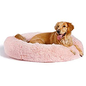 Best Friends by Sheri The Original Calming Donut Cat and Dog Bed in Shag Fur, Machine Washable, Removable Zippered Shell, for Pets up to 150 lbs – Extra Large 45″x45″ in Cotton Candy Pink