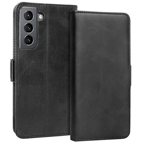 KUAO Leder Klapphülle Hülle Kompatibel mit Galaxy S21 5G, [Classic Wallet Serie] mit Magnetverschluss & Standfunktion Schutzhülle Tasche Handyhülle für Samsung Galaxy S21 (Schwarz)