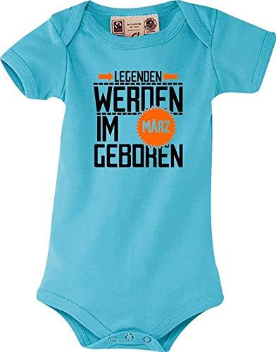 Shirtstown Dulce Body Bebé Legenden Werden Im März Nacido - Azul Claro, 6-12 Monate