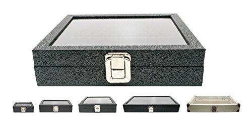 Novel Box Half-Size Glass Top Black Leatherette Metal Clasp Jewelry Display Case 8.25X7.25X2 + Custom NB Pouch