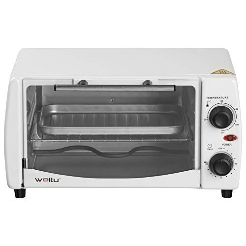 WOLTU BF08ws Minibackofen 12 Liter, 800 Watt Toasterofen | Pizzaofen | Backblech mit Timer Mini Backofen für Pizza, Toast, Truthahn, Hot Dogs Weiß