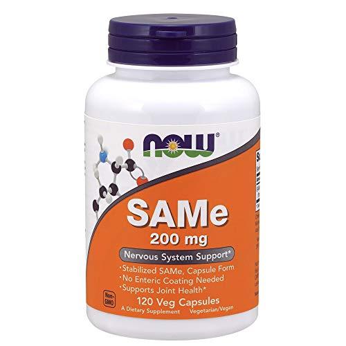 NOW Supplements, SAMe (S-Adenosyl-L-Methionine)200 mg, Nervous System Support*, 120 Veg Capsules