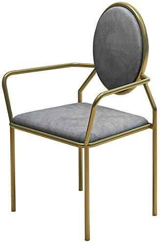 QTQZDD Elegante eettafelstoel van fluweel, spaarzame ontbijtstoel met rugleuning, vrijetijdsbijzetstoel met armleuning, poten met gouden coating, grijs