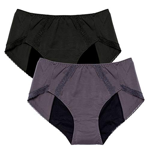 Intimate Portal Damen Pants Perioden Panties Menstruation Slip Auslaufsicheren Taillenslips Für Periode Menstruation Schwarz Grau 2er-Pack L