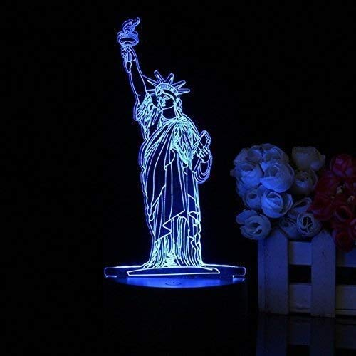miwaimao 3D Decor Night Light Touch Remote 7 Color Changing LED Table Night Lamp Light Gift (Statue of Liberty)