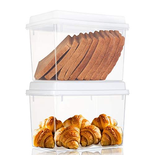 Cedilis 2 Pack Food Storage Container, Storage Bins, Plastic Pantry Storage for Bread Loaf, BPA Free, Clear, 2.5 Quart