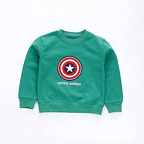 STZYY Marvel Boys Avengers Capitán América Escudo Sudadera, suéter de los niños suéter de algodón Primavera suéter de los niños suéter Capitán América de Dibujos Animados Conjunto de suéter de Cue