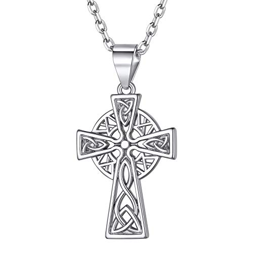 ChicSilver 925 Sterling Silver Celtic Cross Necklace for Men Women Irish Knot Pendant Necklace, 18 Inch Rolo Chain