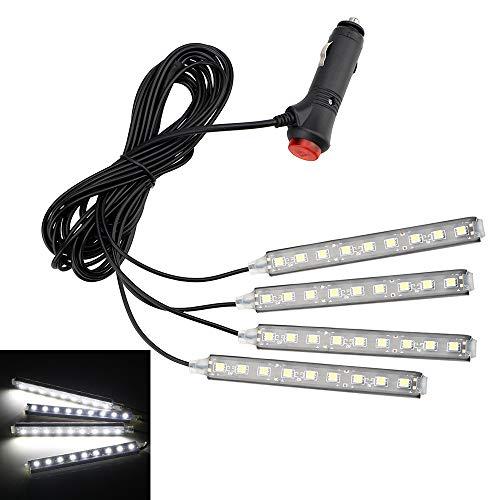 NOPNOG Luces de Ambiente Interior 4 en 1 para automóvil, Tiras de Luces para el pie del Tablero, con Adaptador para Encendedor de Cigarrillos, 9 LED, 5050 SMD (Blanco)
