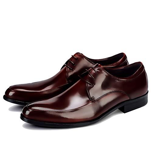 LIXIYU Zapatos con Cordones de Cuero para Hombres, Negro/Vino Rojo, Zapatos Formales, Zapatos de Vestir de Boda, Moda, Zapatos de Negocios Informales,Red wine-46