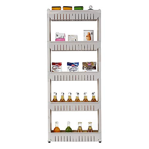 EBLSE 5 Tier Mobile Shelving Unit Organizer Slide Out Storage Tower Slim Storage Tower Rack with Wheels Pull Out Pantry Shelves Cart for Kitchen Bath Room Narrow Spaces Grey