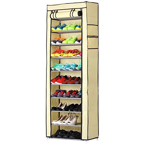 bakaji zapatero Armario para ahorrar Espacio 11baldas 60x 30x 175cm hasta 30pares de zapatos estructura de acero y revestimiento de Tejido TnT impermeable con Cierre Cremallera contra el polvo