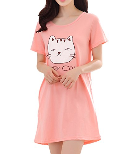 Vopmocld Big Girls' Cute Happy Cat Sleepwear Short Sleeve Summer Soft Nightgown, Pink, Large / 10-12 Years