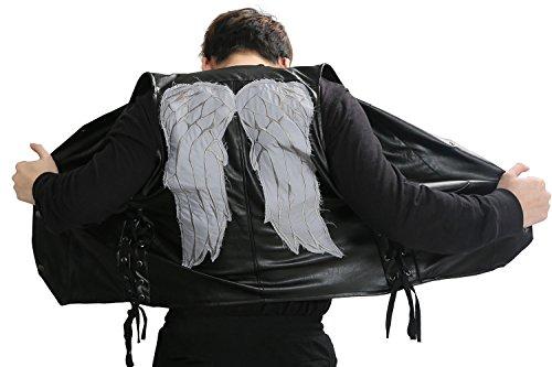 Xcoser Daryl Weste Schwarz PU Leder Weste Engels Flügel Ärmellose Jacke Top Kleidung für Herren Verrücktes Kleid Cosplay Kostüm (M)