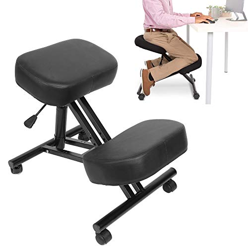 Ergonomic Kneeling Chair, Houshold Pneumatic Ergonomic Kneeling Chair Adjustable Posture Knee Stool with Fabric Cushions (Kneeling Chair)