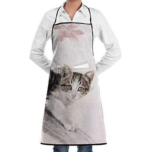 Drempad Cocina Chef Babero Delantal Cat Painting Neck Waist Tie Center Kangaroo Pocket Waterproof