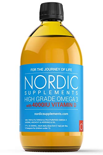 Nordic Supplements High Strength 500ml Omega 3 Fish Oil with 4000IU Vitamin D3 in Natural Cholecalciferol Form. Taste Award Winning Lemon Flavoured and Tested