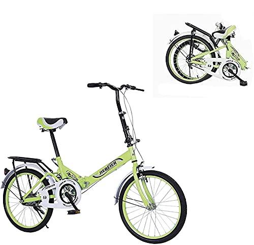 JZTOL Bicicleta Plegable para Adultos, 20-in City Mini Bicicleta Compacta para Viajar Urbano, Bicicleta Ligera para Adultos, Hombres, Mujeres Y Adolescentes (Color : Green)