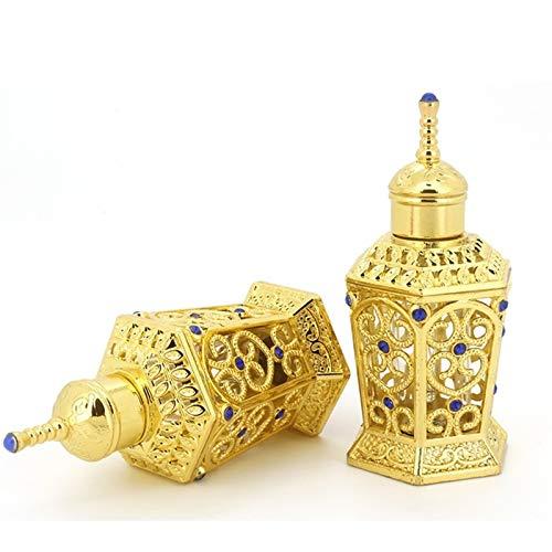 WZCXYX 2 Uds 10ml Botella De Perfume De Metal Vintage Aceites Esenciales árabes Botella Cuentagotas Contenedor Oriente Medio Deshierbe Decoración Regalo