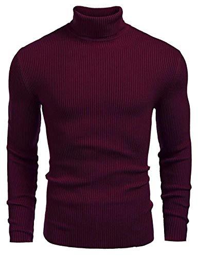 Coofandy Sweater Rojo Hombre Clásico Básico Invierno Manga Larga Cuello Alto XL