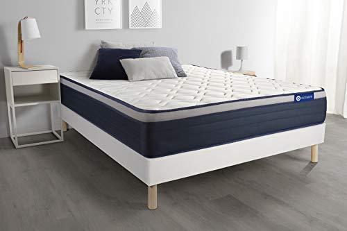 Set matras latex + geheugenschuim Actilatex Max 160 x 200 cm 7 zones comfort + lattenbodem wit – dikte: 26 cm – comfort: stevig