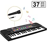 ♬【24 DEMO & 3 TONES】Kids piano with 24 demo, 3 tones, volume control, tempo control, sound effect and lesson/rhythm functions. Children keyboard with microphone, kids can sing and play. It also has plenty of music modes to choose, make kids to explor...