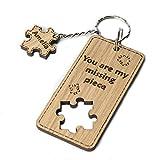Portachiavi con puzzle personalizzato, portachiavi, chiavi incise, legno, quercia, su misura
