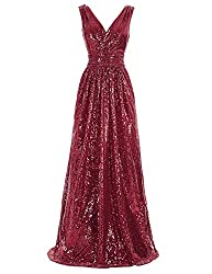 Sleeveless Maxi Sequin Burgundy Gown