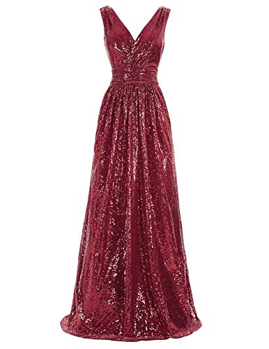 Kate Kasin Women 's Sequin Formal Evening Prom Dress Burgundy US14 KK199